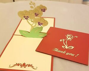 3D Pop Up Orchids Flowers - Thank You Card
