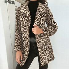 UK Womens Warm Leopard Print Cardigan Coat Jacket Ladies Autumn Outerwear Tops