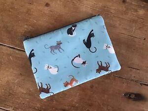 Handmade Coin Purse Little Cats Fabric Blue