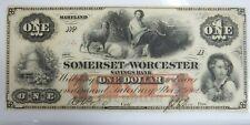 1862 SOMERSET WORCESTER SAVINGS BANK ONE DOLLAR NOTE