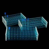 10pcs Plastic Test Tubes Vials with Caps & Pipe Rack Holder Stand 40/50 Ho ro