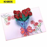 New 3D Pop Up Love Greeting Card Valentine Mother's Day Carnation Bouquet