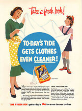 "original large colour advert ""  tide : take a fresh look !  "" 1956"