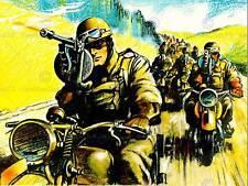 MOTORCYCLE TROOPS SOLDIER GUN COLUMN CONVOY WWII UK ART PRINT POSTER BB10546