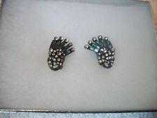 HEIDI DAUS Earrings Blue Topaz & Clear Swarovski Crystals Bronzetone ClipOn NEW!