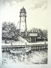Antique Etching um 1940 signiert Lighthouse B-27