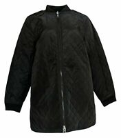 LOGO by Lori Goldstein Women's Sz M Reversible Quilted Zip Jacket Black A370305