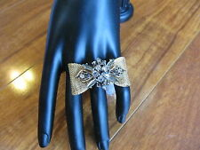 New Mesh Bow with Rhinestones Jeweled Center Ring Size 8 Gold Tone