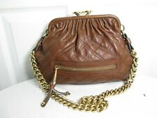 MARC JACOBS QUILTED BROWN LEATHER STAM FRAME BAG LARGE KISS-CLASP CHAIN STRAP