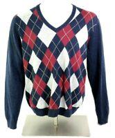 Brooks Brothers Mens L Merino Wool Red Blue Argyle V Neck Sweater