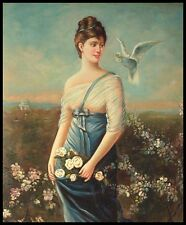 "24""x20"" Oil Painting on Canvas, Young Lady and a Bird"