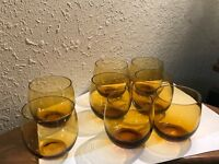 Vintage Amber Hand Blown Small Tumbler Shaped Glasses Set of 6 + 2 Free Cordials