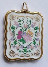 Anhänger Porzellananhänger handgemalt und vergoldet Vintage 30er  Pendant