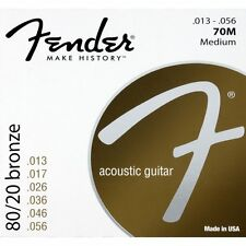 Fender 70M 80/20 Bronze Medium Acoustic Guitar Strings (13-56) +Picks