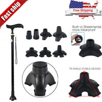 Anti-slip Walking Stick End Tripod CANE TIP Self Standing Rubber End Bott