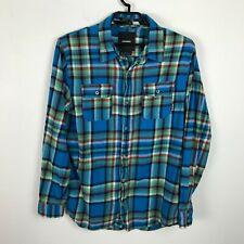 Burton Flannel Shirt Size XL Blue Red Plaid Button Down Long Sleeve Mens