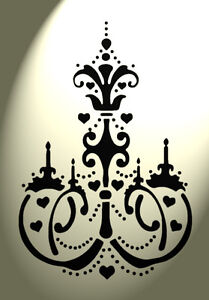Vintage Heart Chandelier damask stencil Shabby Chic Rustic A4 297x210 French