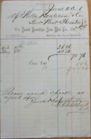 Lumber & Timber 1876 Letterhead: South Brookllyn Saw Mill - New York, NY