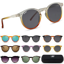 Runde Panto Sonnenbrille Kunststoffrahmen UV400 Damen Herren Retro Vintage