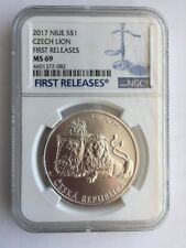 2017 Niue Island NGC MS69 Czech $1 1oz Silver two-tailed Czech Lion Coin FR