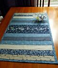 Handmade Quilted Reversible Table Runner Blue Tan Stripes 30 x 19