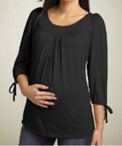 Black Maternity Top Pregnancy Top Shirt Blouse Sizes S,M,L,XL