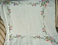 """VINTAGE EMBROIDERED TABLECLOTH ECRU LINEN CROCHETED BORDER  42"""" X 42"""" FLORAL"""