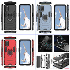 For Oppo A52 A72 A92, 3D 3in1 Shockproof Rugged Ring Grip Car Holder Case +glass