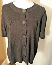 Axcess Lizc laiborne, cotton/ nylon, medium, gray, short sleeve sweater