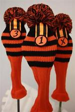 New Black Orange Stripe Golf Pom Pom 1 3 X head covers Sock headcovers headcover