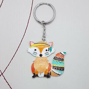 Funky fox enamel keyring