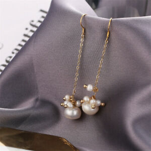 Natural Baroque Pearl Long Earrings Silver Ear Hook Fashion Party Gift Aurora