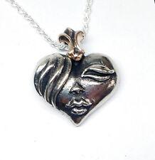 Lady Face Heart Silver Pendant