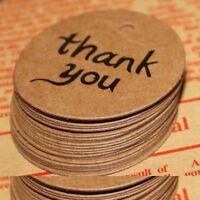 100X Thank You Wedding Brown Kraft Paper Tag Bonbonniere Favor Gift Tags Decor