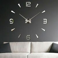 3D DIY Wall Clock Home Modern Decor Crystal Mirror Sticker Living Room EW