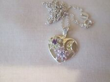 """925 Italy Sterling Silver  Love Heart Rhinestone Pendant Necklace 18"""""""