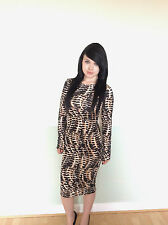 WOMENS LADIES WAVY ANIMAL PRINT CHRISTMAS PARTY FORMAL WIGGLE MIDI DRESS  (D9)