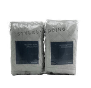 Hudson Park Collection Double Diamond SILVER Quilted KING Shams Set