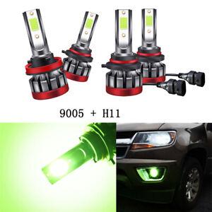 4x 9005 H11 Car Motors LED Driving Fog Light Bulbs Lemon Green DRL Beam Foglamp