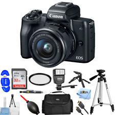 Canon EOS M50 Mirrorless Camera with 15-45mm Lens (Black) + 32GB + Flash Bundle