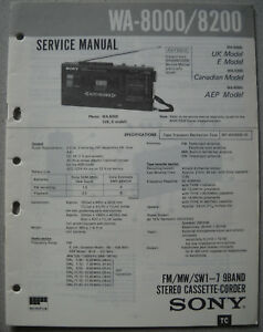 SONY WA-8000 / 8200 Service Manual