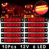 10X 12V SMD 6 LED ROUGE FEUX DE GABARIT CAMION CARAVANE SHASSIS REMORQUES NEUF
