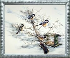 Chickadee Birds House on Tree Animal Silver Framed Wall Decor Art Print Picture
