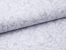 0,5 m Vintage, 100% Baumwolle Stoff, Rosen Barock Still Weiß auf SilberGrau