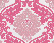 Wow! Bling Bling Pink White Silver Glitter Damask Textured Feature Wallpaper