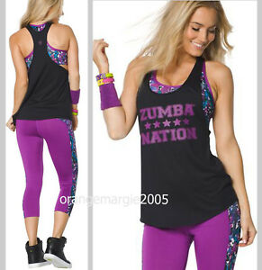 ZUMBA Double Layer Tank w Built-in-Bra Top + Mashed Up Capri Leggings 2 Pieces