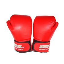 PU Leather Boxing Gloves Sparring Punch Bag Muay Thai Kickboxing Training 3c Red