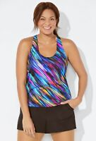 Swimsuits For All Signal Racerback Tankini 20 Multicolor Chlorine Resistant NWT