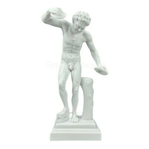 Dancing Satyr Faun with Cymbals Nude Male Greek Roman Statue Sculpture