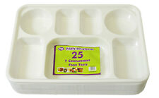25 x PLASTIC DISPOSABLE PLATES 6 COMPARTMENT CURRY THALI PARTY FOOD SECTION TRAY